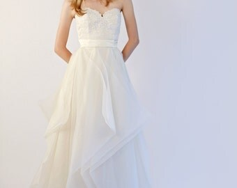 Hand Made Silk Organza and Lace Wedding Gown--Janine