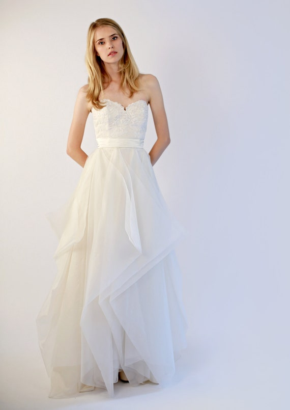 Items similar to hand made silk organza and lace wedding for Silk organza wedding dress