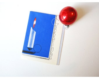 1930s Christmas Card - Candle on Blue