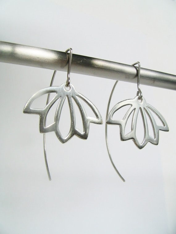 Lotus Silhouette Sterling Silver Earrings