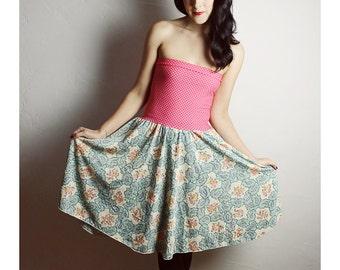 Vintage Baby Doll Dress , Pink Green Dress, Strapless Dress, OOAK Dress, Polka Dot , Retro Dress