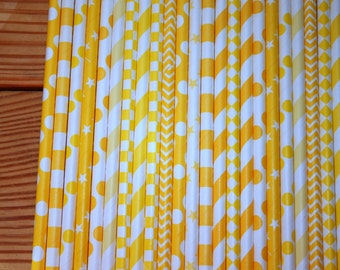 30 Yellow Straws, assorted patterns, paper straws
