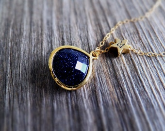 Starry Night Jewelry Necklace - Blue Goldstone - Gold Star - Personalized Initial Necklace - Constellation - Shooting Star - Gift for Her