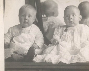 Vintage photo Unusual Mirror Reflection Baby times 2 Back of Head RPPC