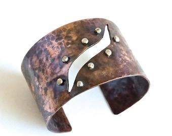 Copper Cuff, Handmade Cuff, Hammered Copper Cuff, Rustic Cuff, Metal Cuff, Wide Copper Cuff, BoHo Cuff
