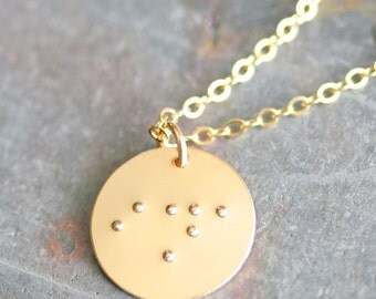 Personalized Braille Pendant in 14K Gold Filled - Hand Stamped Braille Necklace