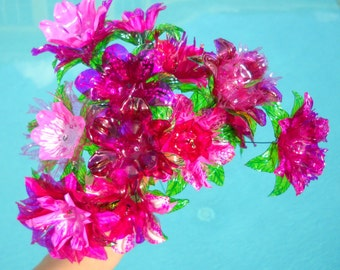 Water Bottle Flowers 1 dozen any color Eco-Friendly Environmentally Conscious Ethically Made Upcycled Art OOAK