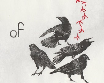 A Murder of Crows Linocut, Terms of Venery, Collective Nouns for Birds Lino Block Print Collection, A Murder of Crows