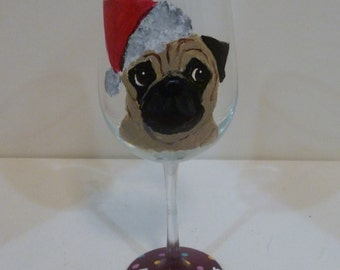 "Merry Christmas Pug Wine Glass ""Dougie"" Hand Painted  Pet Lovers Boutique"