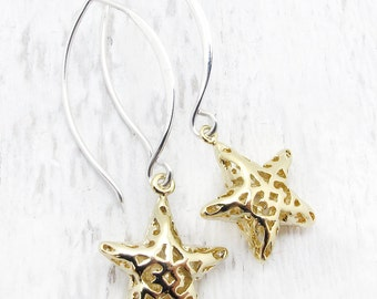 star earrings, gold star earrings, silver star earrings, gift for girlfriend, star jewelry, celestial jewelry, Hostess gift,  holiday gift