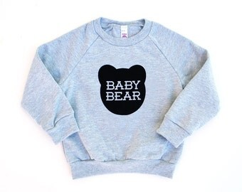 Baby Bear Kids Heather Grey Sweatshirt with Black Print - Family Photos, infant, Expecting, New Baby, Baby Shower, Announcement