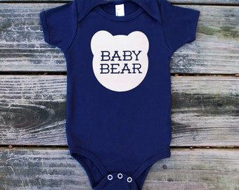 Baby Bear Cotton Onepiece in Navy Blue with White Print - Newborn Baby Shower Gift