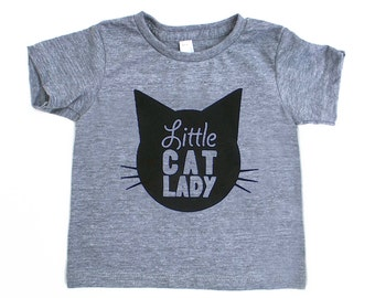 Little Cat Lady TriBlend Heather Grey TShirt with Black Print - Infant and Toddler sizes