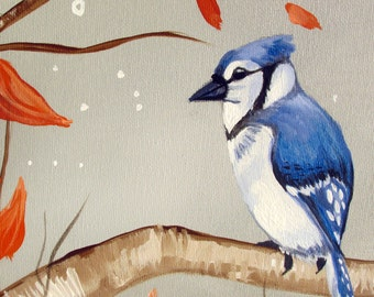 Woodland Forest Painting with a Blue Jay Bird on Tree Branches...Contemporary Modern Bird Art Painting by HD Greer