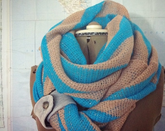 Sweater Scarf, STRIPES Tan and Turquoise infinity scarf. Reversible cowl, multiple styling options with button tab accent. STRIPE SCARF.