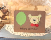 Balloon and Bear Birthday Card