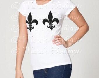 Women's Mardi Gras Shirt, Fleur De Lis Shirt, Women's Graphic Tshirt, Black on White Fleur De Lis T-Shirt for Teens Juniors Women S M Lg Xl