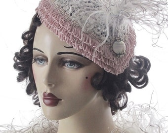 Pink Fringe and Ivory Lace Cocktail Hat
