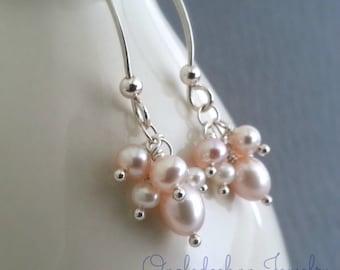 Pink Pearl Cluster Earrings Sterling Silver Freshwater Pearl Long Dangles Wedding Jewelry