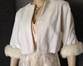 Darling Little 1950s Winter White Plush  Faux Fur Jacket, Rabbit Fur Cuffs - Perfect Bridal Complement