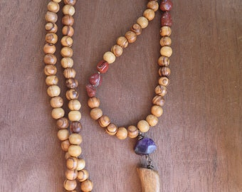 Long Earthy Stone Beaded Necklace with Wood Horn Talon Pendant - Boho Natural - Gemstone Crystal - Purple Amethyst Red Jasper - Gypsy