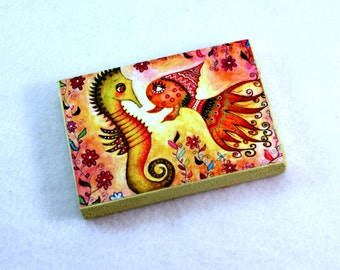 Art Wood Block, Whimsical Fish, Drilled Hole or Magnet, Nautical Art, Friendship Art, Seahorse & Fish ACEO ATC, Wooden, Orange Pink Green