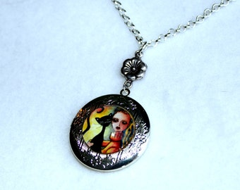 Silver Locket, Black Cat and Girl Art Locket, Silver Charm Necklace, Cat Jewelry Shabby Chic, Flower or Bow Charm, Orange Yellow Black