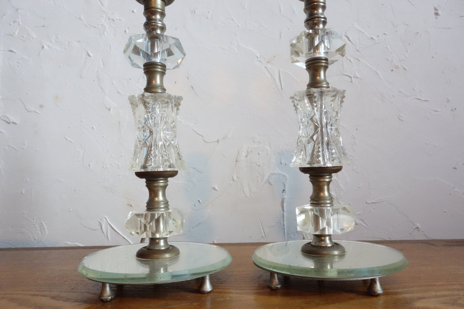 Art Deco Glass Boudoir Lamps Vintage Bedroom Lamps Glass