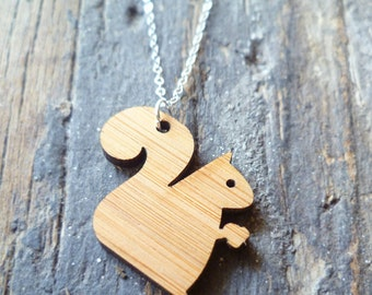 Sterling Silver Pendant, Bamboo Squirrel Necklace