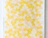 Hex Tea Towel. Yellow and peach geometric tea towel