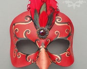 Burlesque Bird Leather Mask In Red And Black With Feather Fascinator