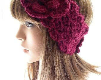 Wine Crochet Head Warmer with Flower, Crochet Ear Warmer, Women's Head Band, Buttoned Head Wrap, Merlot Headwarmer, Burgundy, HW124-01