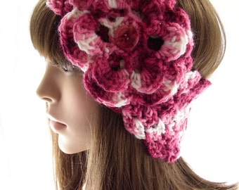 Raspberry and Pink Crochet Head Warmer with Flower, Crochet Ear Warmer, Women's Head Band, Buttoned Head Wrap, HW133-01