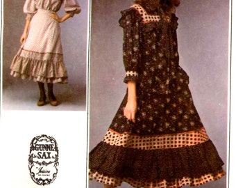70s Gunne Sax Vintage Simplicity 8728 Jessica McClintock Prairie Revival sewing pattern skirt top couturier Bust 32