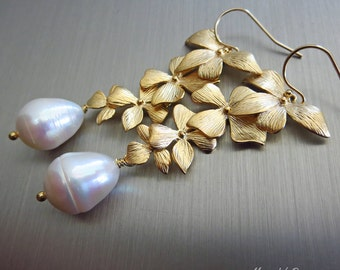 Petals-Genuine Teardrop FW Pearls-Gold Plated Blossom Dangle Leverback Bridal-Bridesmaid Earrings