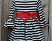 Custom Boutique Clothing Christmas OR Valentines Black White Stripe Red Sash Comfy Knit Holiday Dress