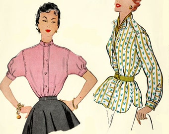 1950s Womens Blouse Mens Shirt Style French cuffs McCalls 9840 50s Vintage Sewing Pattern Size 16 Bust 34