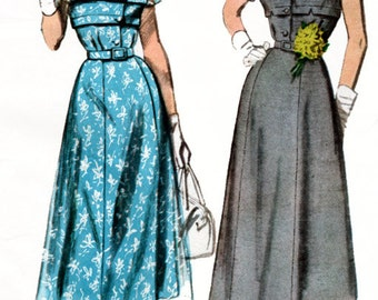 1950s Designer Dress with Horizontal bodice tucks and a Flared 4 gore Skirt Simplicity 8261 50s Vintage Sewing Pattern Size 14 Bust 32 UNCUT