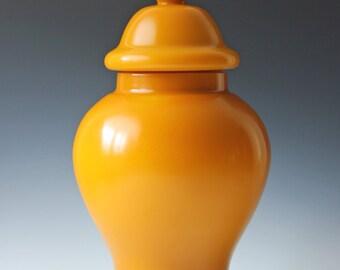 """Large Chinese yellow Peking lidded urn or ginger jar, 17"""" tall"""