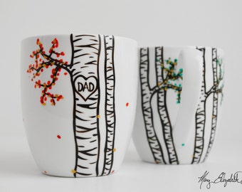 Mom and Dad Mug - Hand Painted Personalized Mug for Dad, Fathers Day Gift, Hand Painted Mug, Personalized Coffee Mugs, Birch Tree Mug