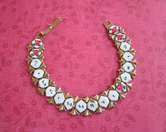 SALE Vintage Gold Toned and Painted Cincinnati Ohio Souvenir Bracelet