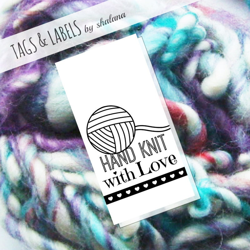 Printable pdf tags or labels hand knit with love from for Hand knit labels
