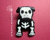 English Bulldog Skeleton Halloween Pendant Artist Hand-Made OOAK Necklace Dog Art Jewelry I3