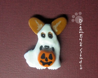 Cardigan Welsh Corgi Red Ghost Halloween Pendant Artist Hand-Made OOAK Necklace Dog Art Jewelry Necklace A3