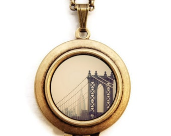 First We Take Manhattan - New York Manhattan Bridge Photo Locket Necklace