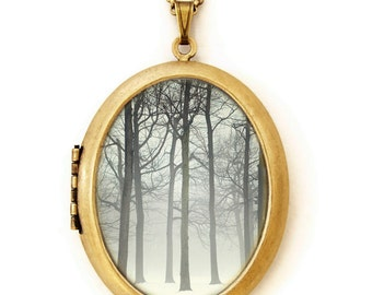 Ink And Snow - Fine Art Photo Locket Necklace - Grande Edition