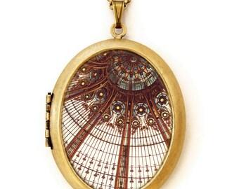 Photo Locket - Splendor In The Glass - Paris Art Nouveau Stained Glass Photo Locket Necklace
