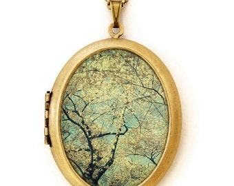 Photo Locket - A Wild Peculiar Joy - Nature Scene Grande Photo Locket Necklace