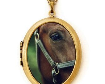 Horse Locket - Belle - Equestrian Brown Horse Photo Locket Necklace