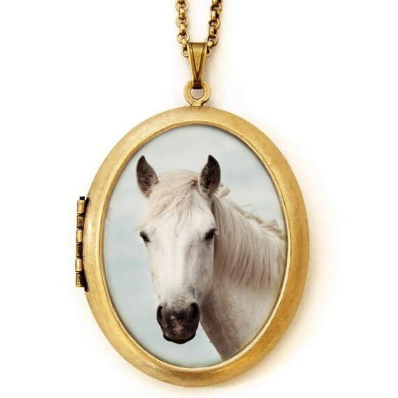 Horse Photo Locket - Equus - Grande Horse Equine Photo Locket Necklace